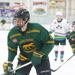 Chicago Cougars hockey player Mike Sliwinski stares down the puck in the foreground, with several Dells Ducks hockey players out of focus chasing him down.