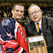 Trevor Hunt, left, is presented his playoff MVP award by NOJHL Commissioner Robert Mazzuca