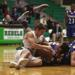 Ridgewood's Adam Yaghmour fights for the loose ball with Kennedy's Ricky Ellis