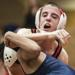 Hinsdale Central's Matt Price, wrestling OPRF's Robert Campos in a 106-pound match last season, is 32-10 at 113 this season.