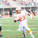 Photo by Amber Petznick.  Brandon Jones runs for a 1st down against the Wolfpack