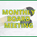 Hockey stick and puck with Monthly Board Meeting text overlay