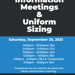 Announcement of Team Information Meetings and Uniform Sizing
