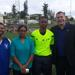 FIFA Technical Officer Marcus Tinoco and FIFA Development Officer Angenie Kanhai for Region visit Clyde Best Centre of Excellence
