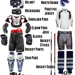 hockey equipment image with individual equipment pieces