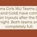 Bisons Girls 16U teams (both Black and Gold Teams) have completed their tryouts after the first night. Both teams are completely full.