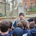 Coach Dan Arbeznik explaining French history to the rugby team