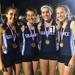 (Left to right) Isabella Turner, Grace Kearns, Kara Bonner and Claire Hauser of the Shawnee 4x800 relay team