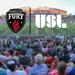 Graphic image with Fury FC logo and USL logo, with crowd at TD Place in the background