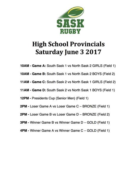 Saskatchewan High Provincials Schedule