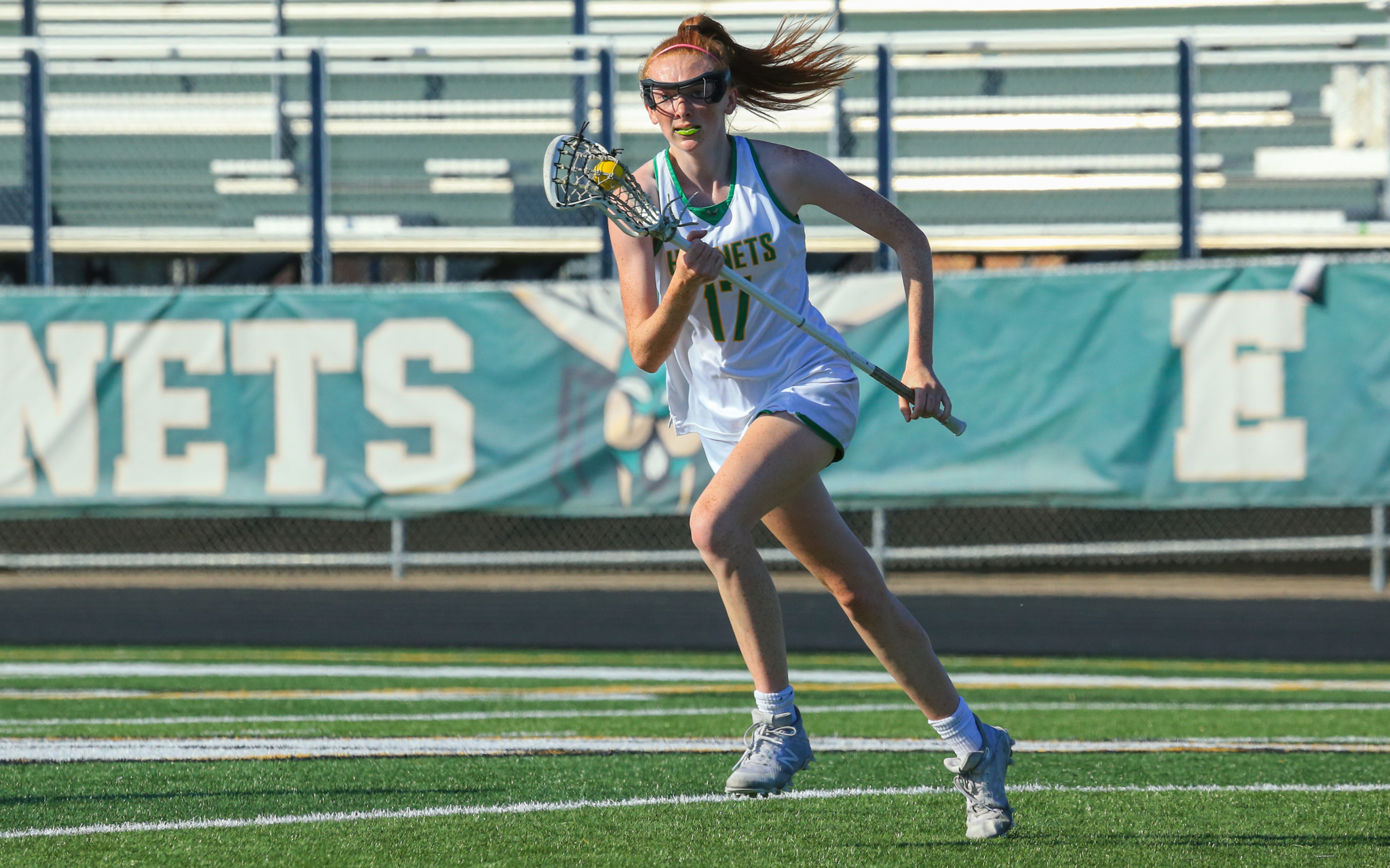 Edina's Cordelia Flemming (17) scored twice for the Hornets in her team's 11-6 loss to Prior Lake in the Section 6 championship game at Kuhlman Field in Edina. Photo by Jeff Lawler, SportsEngine