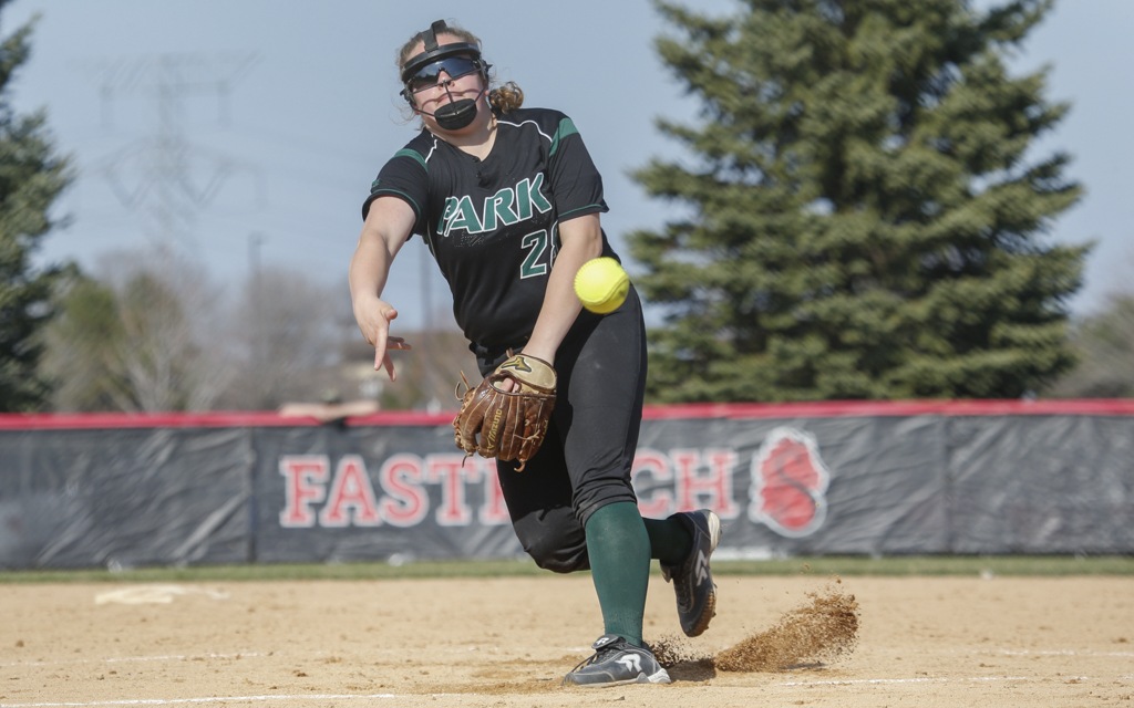 Park of Cottage Grove junior Samantha Fohrman delivers a pitch in the first inning against Stillwater. Fohrman struck out 10 in the Wolfpack's 4-2 victory over the Ponies. Photo by Jeff Lawler, SportsEngine