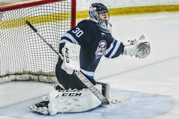 Hobie Hedquist, a Minnesota native shown in net for the Sioux Falls POWER, is committed to continuing his hockey career at Colorado College. Photo courtesy of Noelle Needham