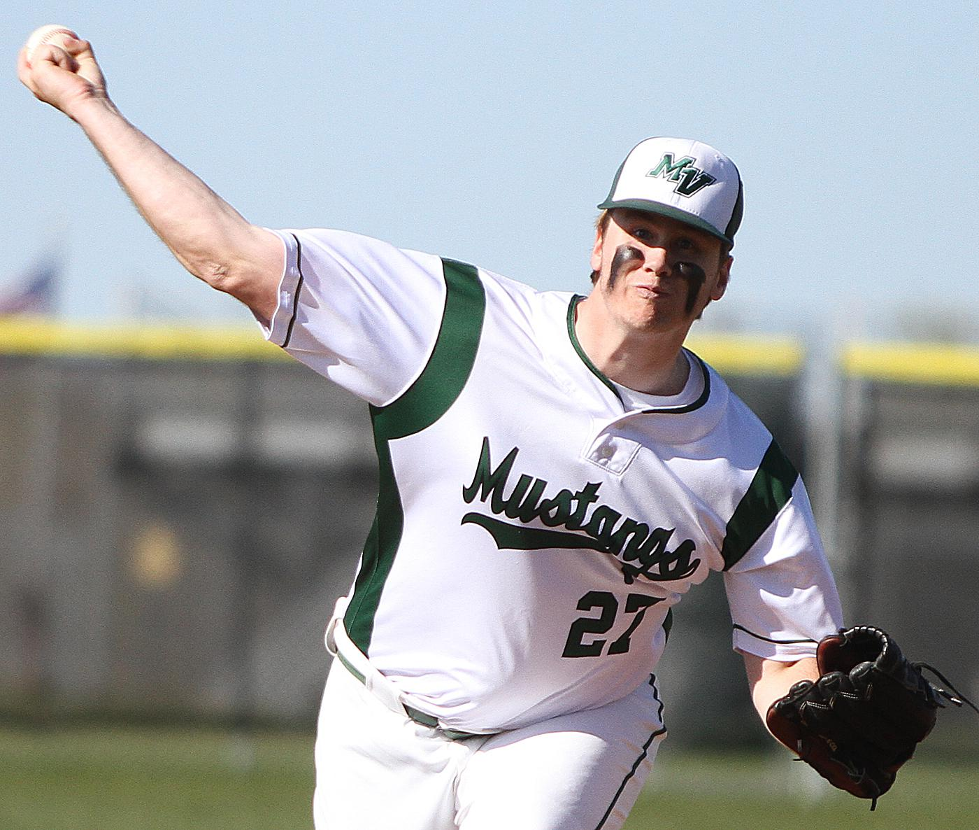Mounds View righthander Ben Rosin delivers a pitch during the second inning Wednesday afternoon at Mounds View High School. Rosin threw a complete game and struck out seven in the 1-0 loss. Photo by Drew Herron, SportsEngine