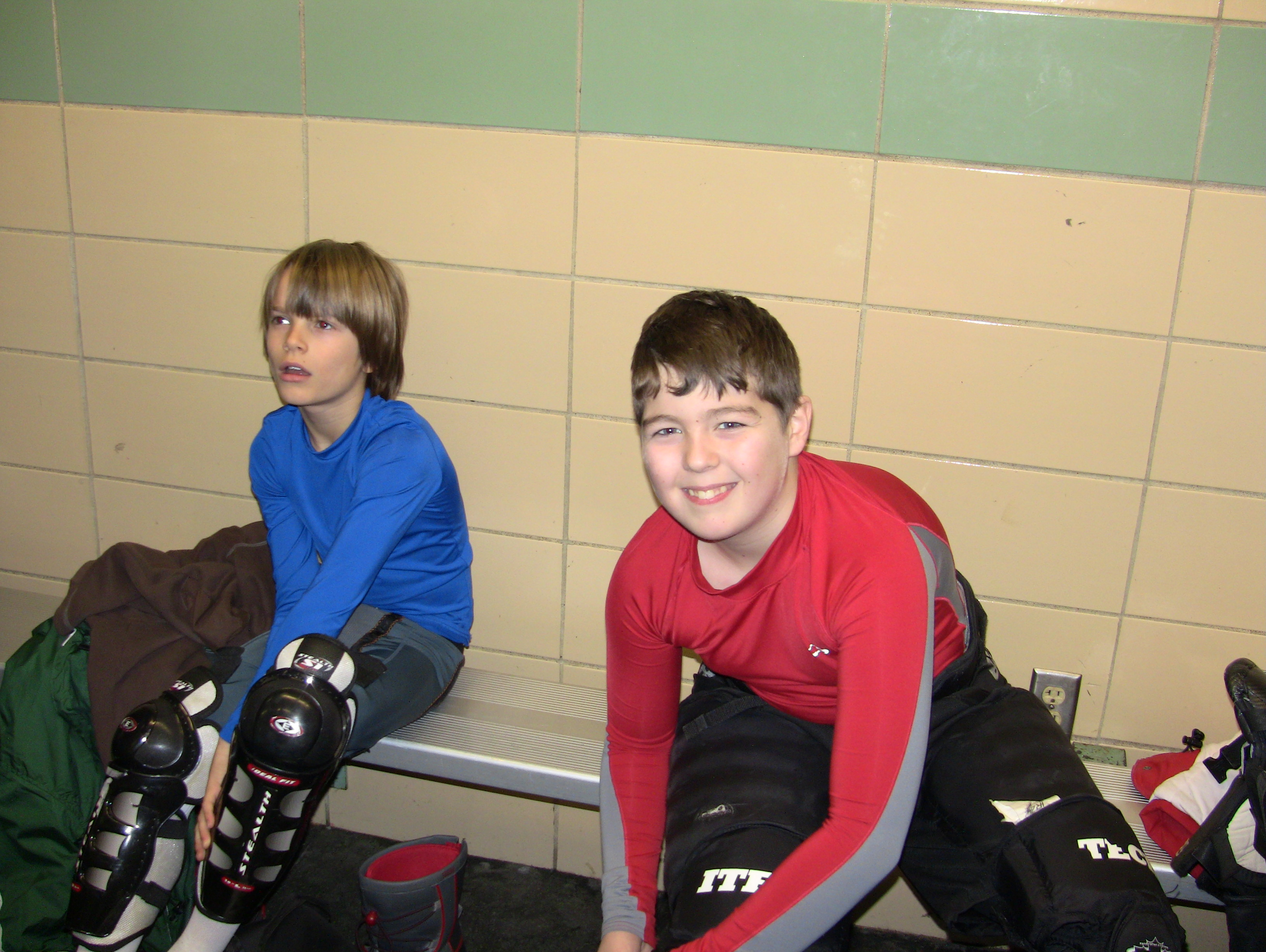 Game 1 pictures in the locker room and on the bench for Kids hockey room