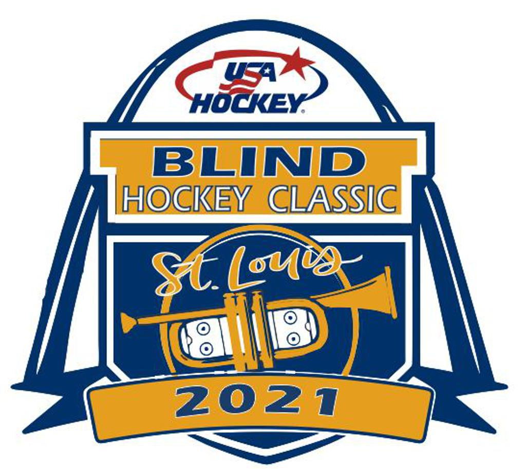 USA Hockey Blind Hockey Classic Logo 2021. St. Louis in script and next to St. Louis Arch on top.  Through the middle a golden ribbon crosses the shield and reads BLIND HOCKEY CLASSIC.  USA Hockey Logo at the top