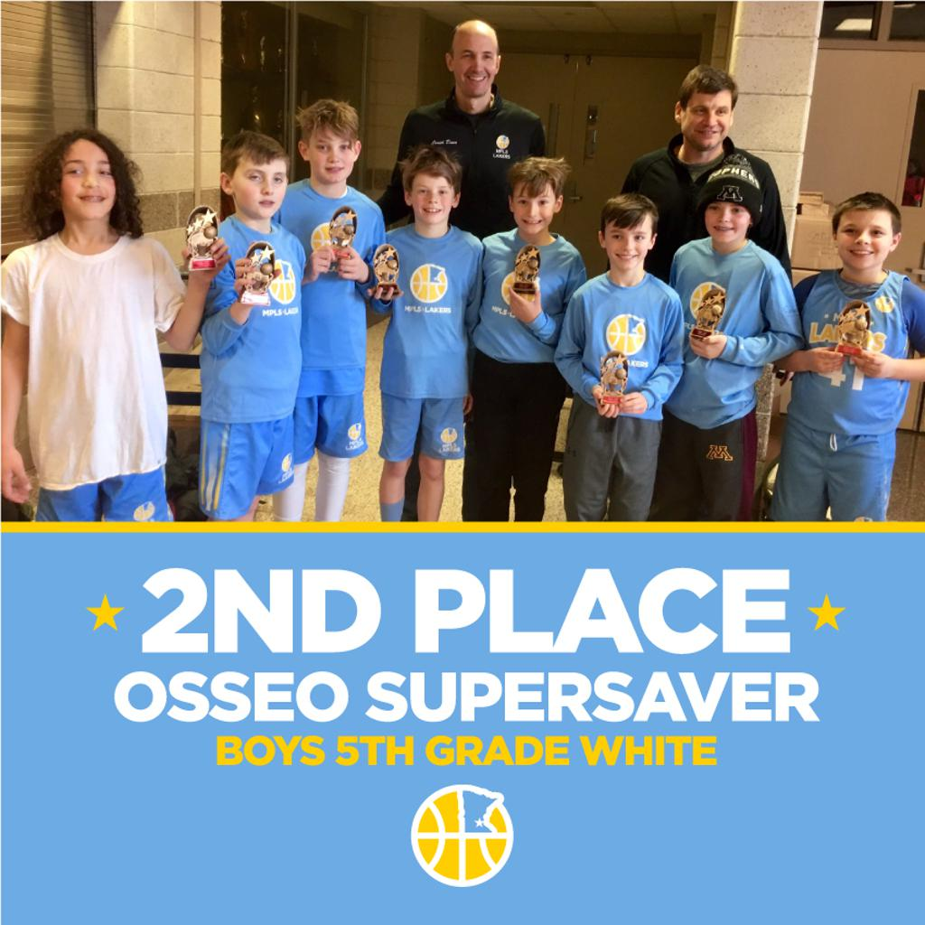 Minneapolis Lakers Boys 5th Grade White  pose with their hardware after taking 2nd Place at MYAS Supersaver in Osseo, MN