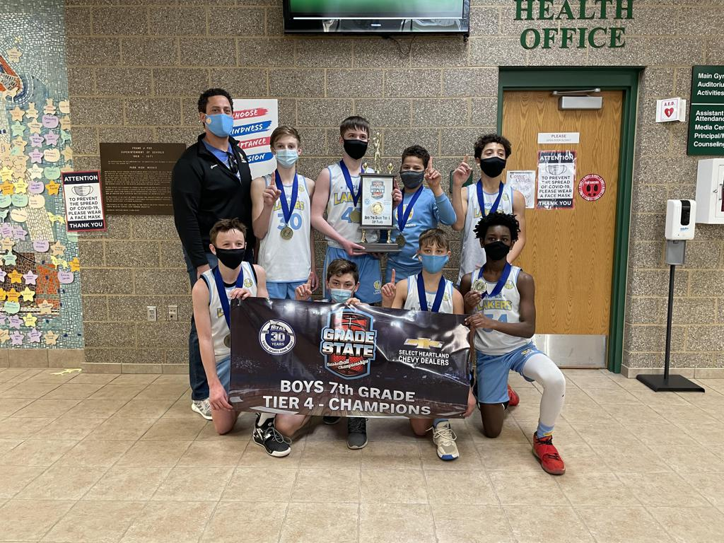 Mpls Lakers Youth Traveling Basketball Program Inc Boys 7th Grade Gold pose after becoming the Champions at MYAS Grade State year end tournament