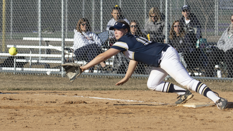 Chanhassen's Sydney Schwartz stretches for a throw against Buffalo Wednesday evening. The Storm fell to the Bison 14-3 in Buffalo. Photo by Jeff Lawler, SportsEngine