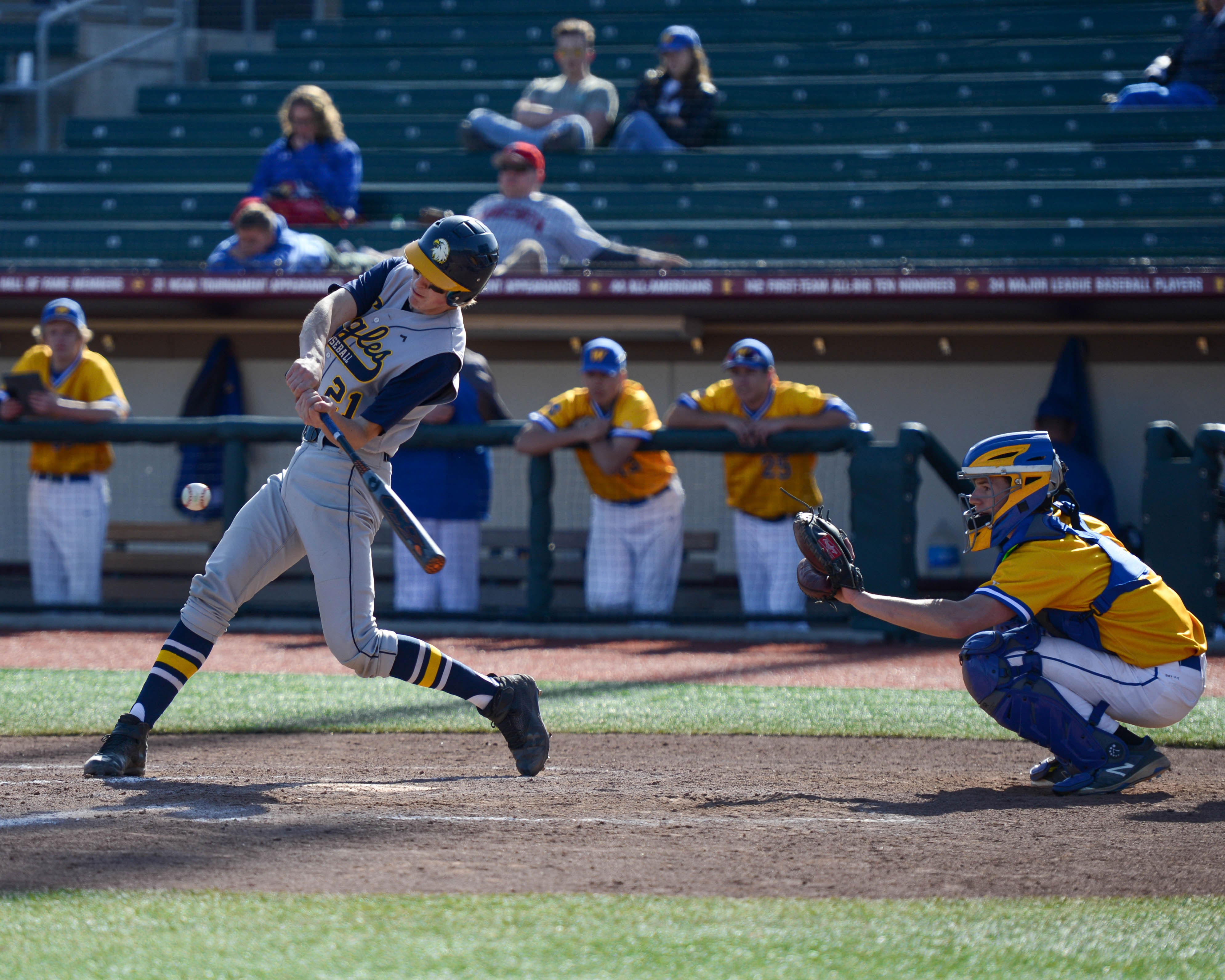 Totino-Grace's Eric Rataczak (21) swings at a pitch against Wayzata at Siebert Field on Saturday. The Eagles defeated the Trojans 7-4. Photo by Carter Jones, SportsEngine