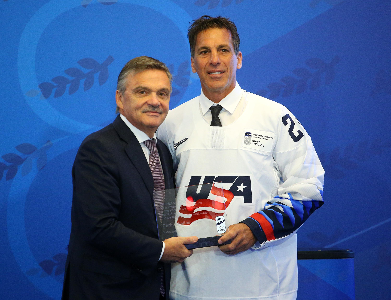 Chelios with IIHF President Rene Fasel