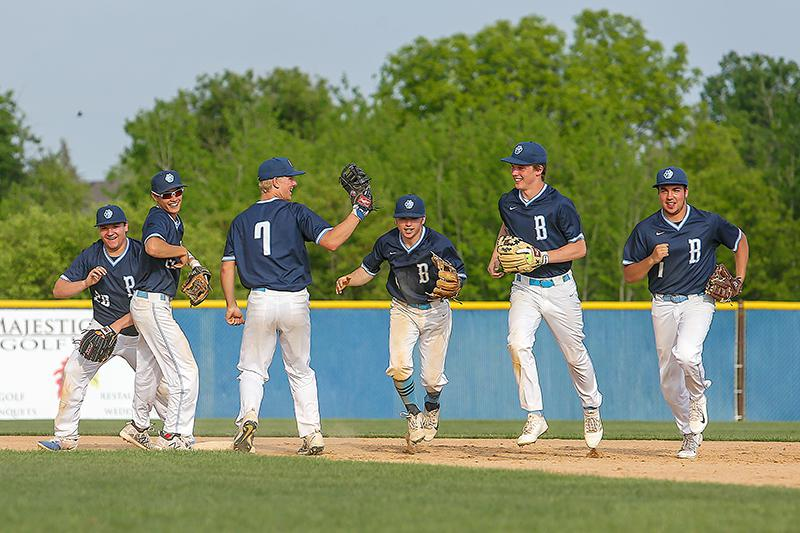 Blaine fielders, from left, Seth Miller, Mike Gottschalk, Connor Melton, Jake Dorff, Tony Strand and Jon Coello run off the field after the Bengals completed a 5-0 victory at Champlin Park. Photo by Mark Hvidsten, SportsEngine