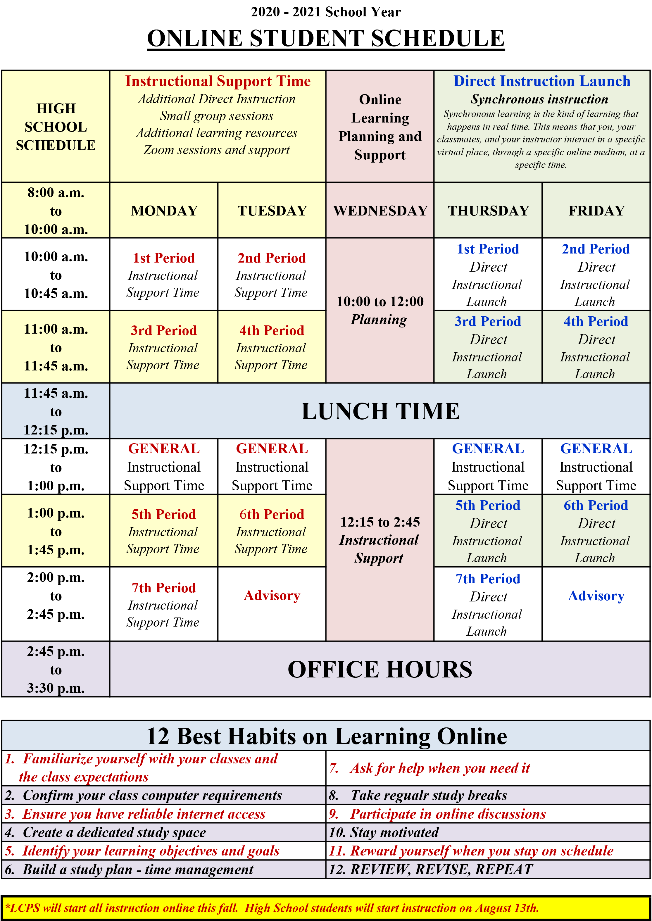 Student Schedule and Good Habits