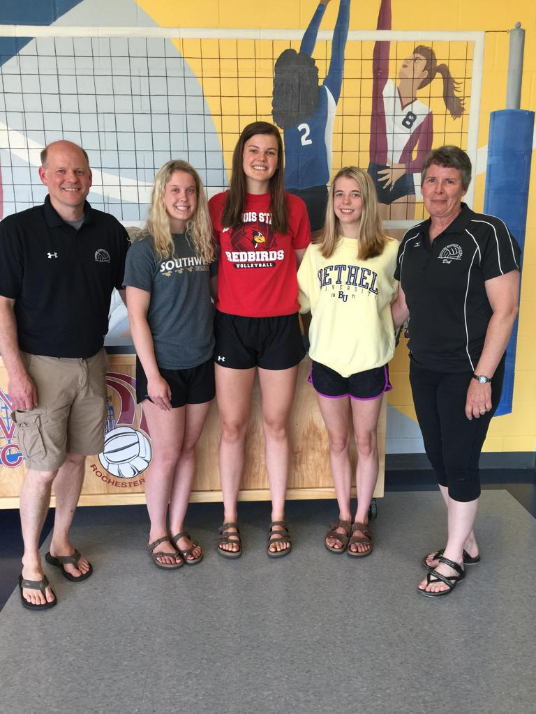 L to R: Brian Lund (SMV Club Director), Rachel Fink, Nicole Lund, Mina Wimmer, Deb Hegerle (SMV Club Director).   Congratulations to our graduating SMV athletes who qualified for the SMV Scholarship. All of these young ladies will be continuing their athl