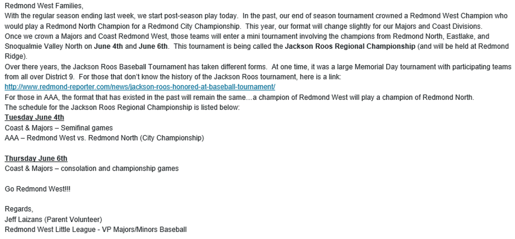 Jackson Roos Regional Tournament Info