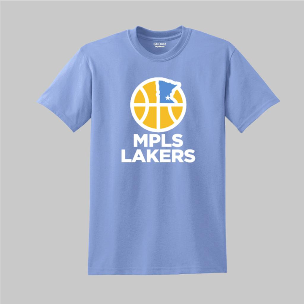 Blue practice t-shirt with Mpls Lakers logo on front