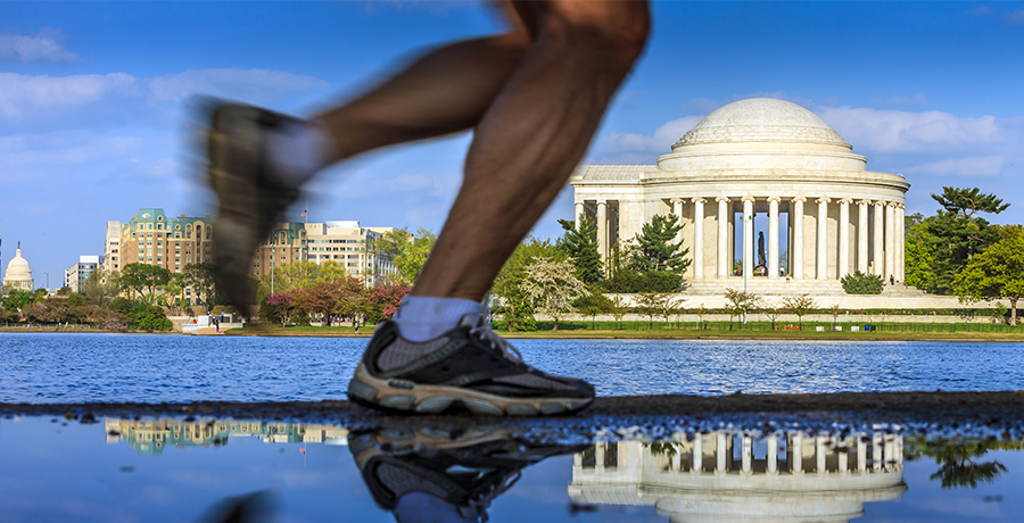 Running by the monuments