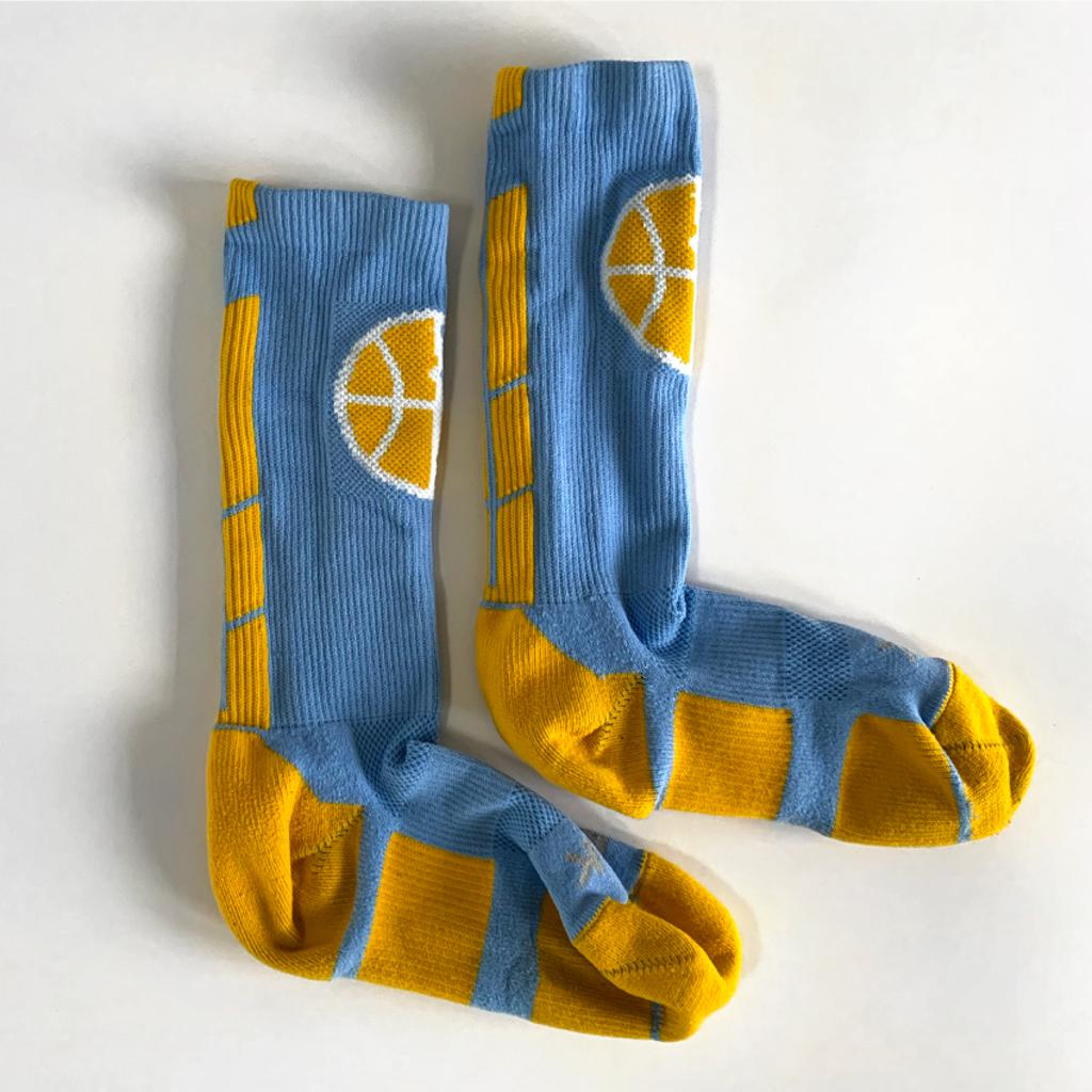 Blue Mpls Lakers athletic socks with in-knit logo