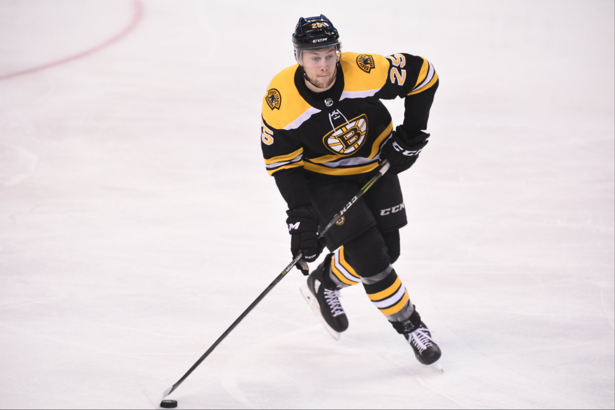 The Bruins' Carlo moves the puck up the ice. Photo courtesy of the Boston Bruins