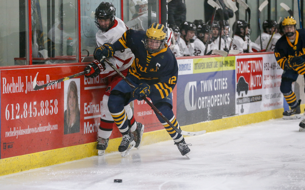 Rosemount's Jackson Sabo battles Lakeville North's AJ Haider for the puck Tuesday night. Sabo scored twice for the Irish in their 3-1 victory over the Panthers in Lakeville. Photo by Jeff Lawler, SportsEngine