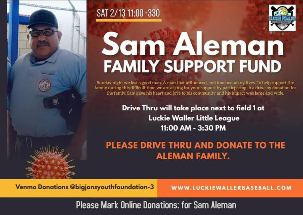Click to Donate Online to the Sam Aleman Family Support Fund