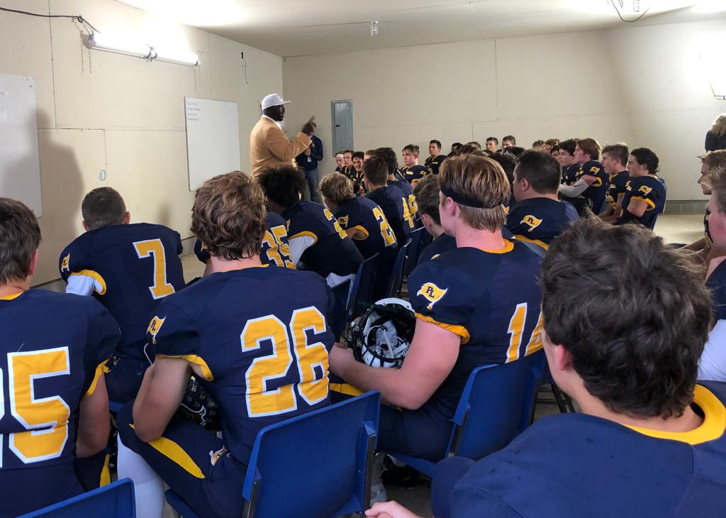 NFL Hall of Famer and Viking legend John Randle addressed the Lakers prior to the game against Wayzata.