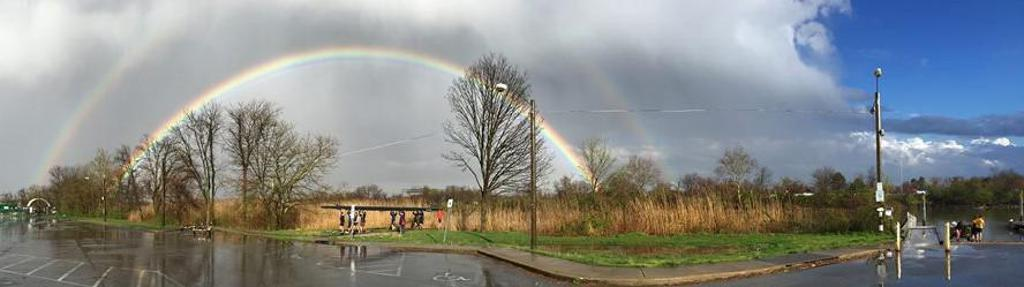 Double Rainbow on the Christina River - Delaware's premier youth rowing club, located just south of Wilmington, DE