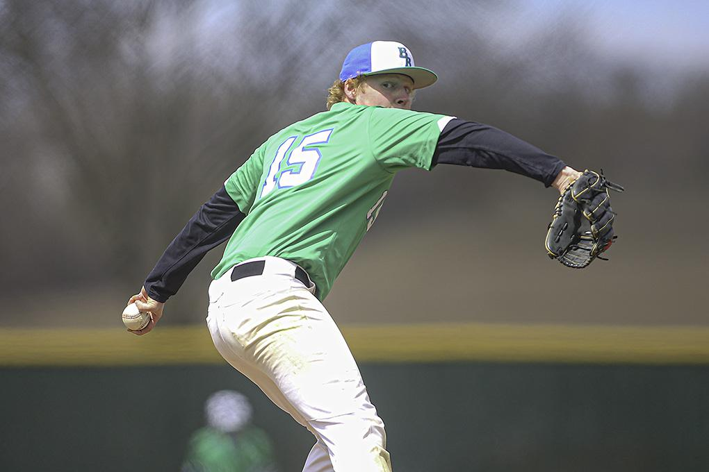Blake senior Jasper Graham pitched five scoreless innings after giving up two runs in the first inning. The Bears lost to the Redhawks 2-1 on Saturday. Photo by Mark Hvidsten, SportsEngine