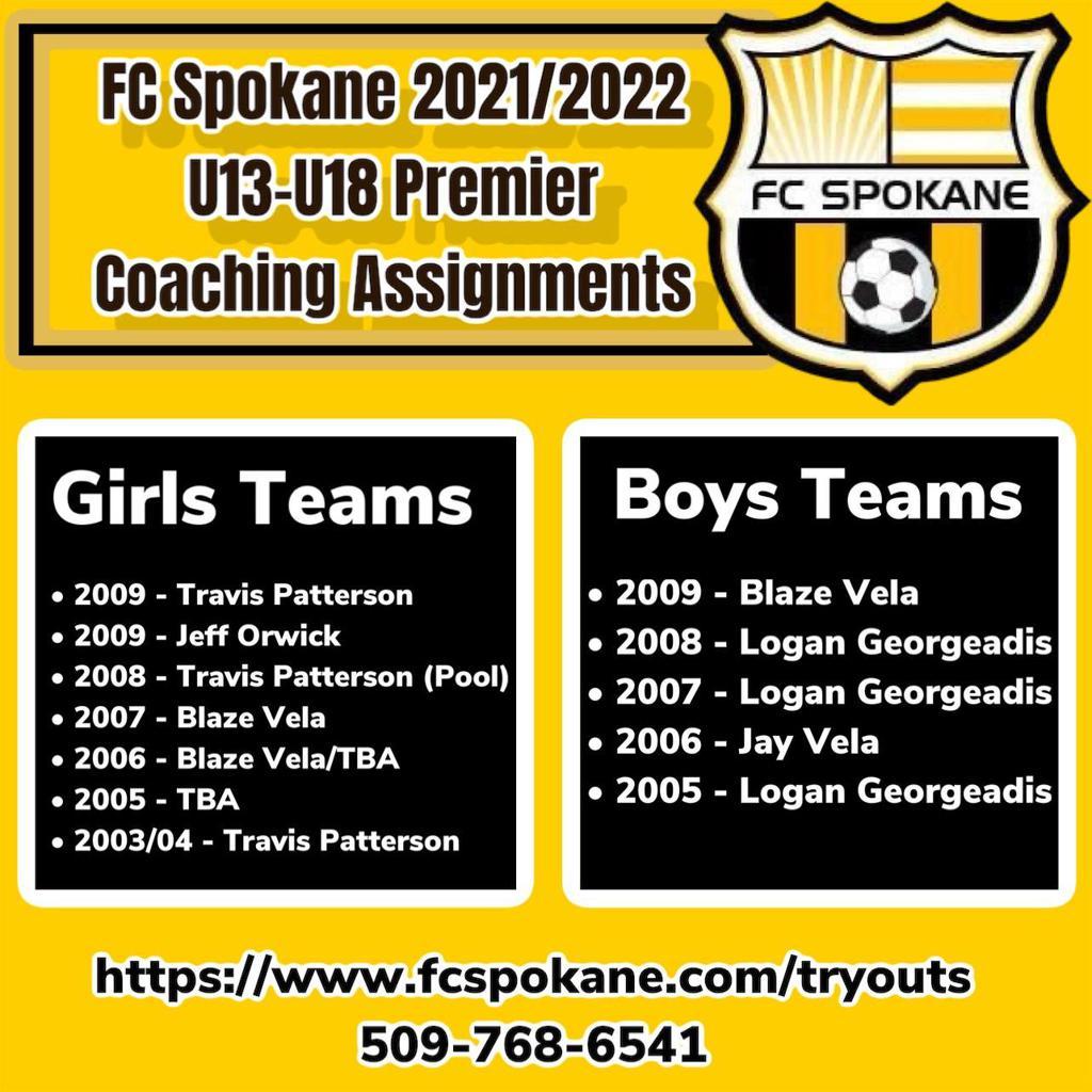 FC Spokane U13-U18 Premier Coaching Assignments