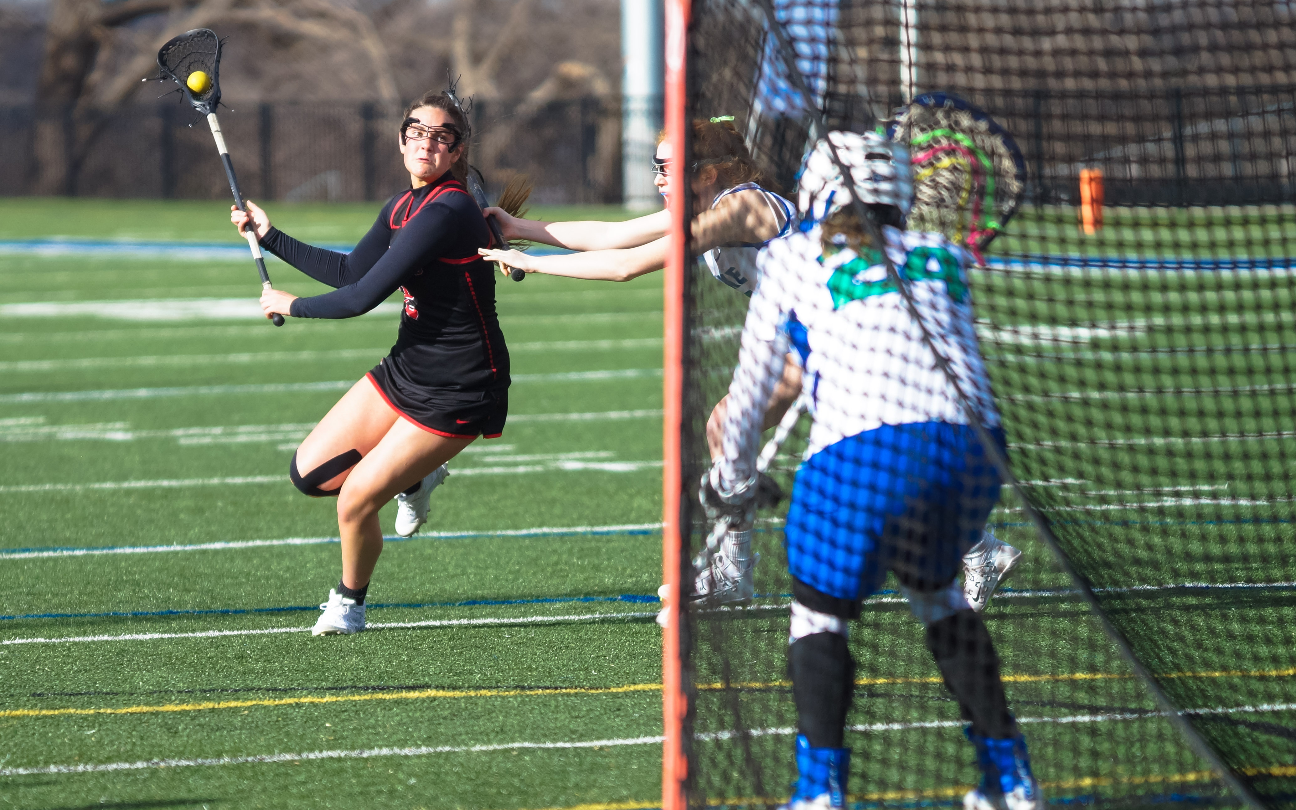Minnehaha Academy senior Grace Nickoloff with a shot during play Thursday against Blake. Nickoloff had three goals in the match. Photo by Korey McDermott, SportsEngine