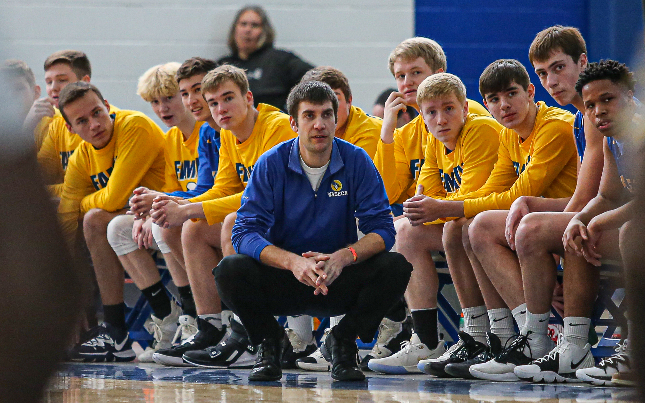 Coach Seth Anderson brings his Waseca team to Minnehaha Academy on Tuesday in a more business-like frame of mind than the Bluejays who hosted the Redhawks a year ago. Photo by Mark Hvidsten, SportsEngine