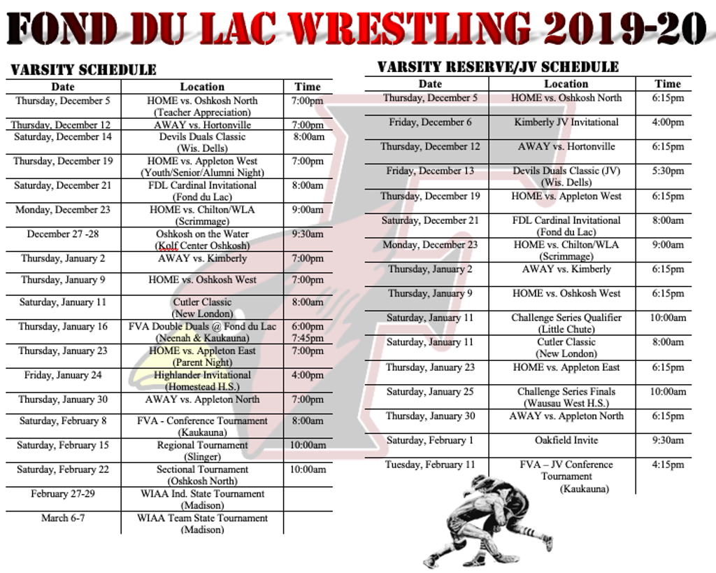 FOND DU LAC HIGH SCHOOL 2019-2020 MEET SCHEDULE
