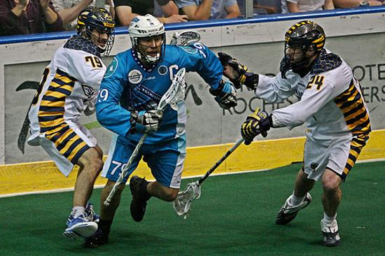 Rochester Knighthawks host Minnesota Swarm at Blue Cross Arena on Saturday at 7:30pm ET to open the 2014 NLL season. (Photo: Larry Palumbo)