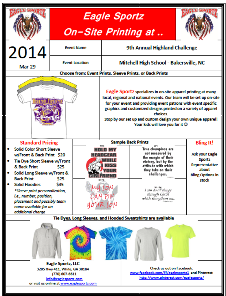 Highland Challenge Event Shirt Info