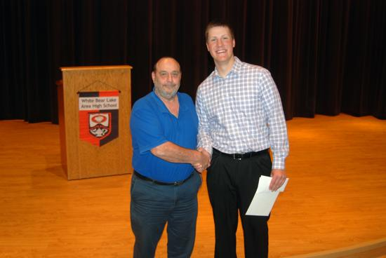 2014 WBYF College Scholarship recipient Derek Dorau with WBYF president Lyle Hoff