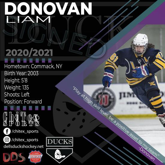 Dells Ducks Would Like to Welcome Liam Donovan to Our Flock...