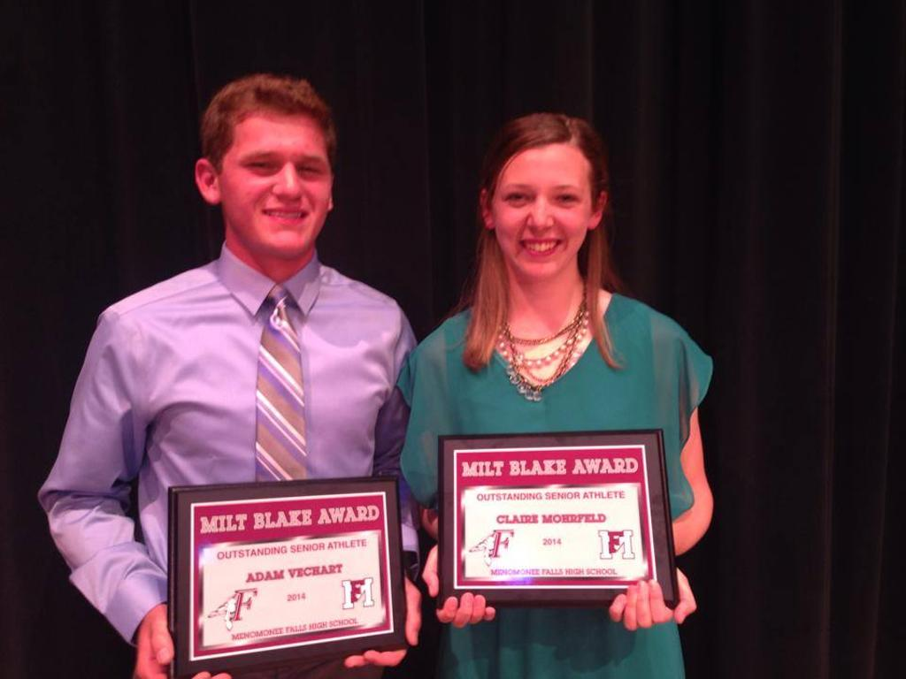 The 2014 Milt Blake Award Winners: Adam Vechart and Claire Mohrfeld.
