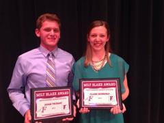 The 2014 Milt Blake Award Winners: Adam Vechart and Claire Mohrfeld.
