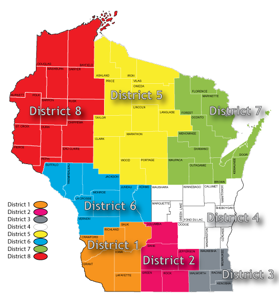 Wisconsin Wrestling Federation Districts (8)
