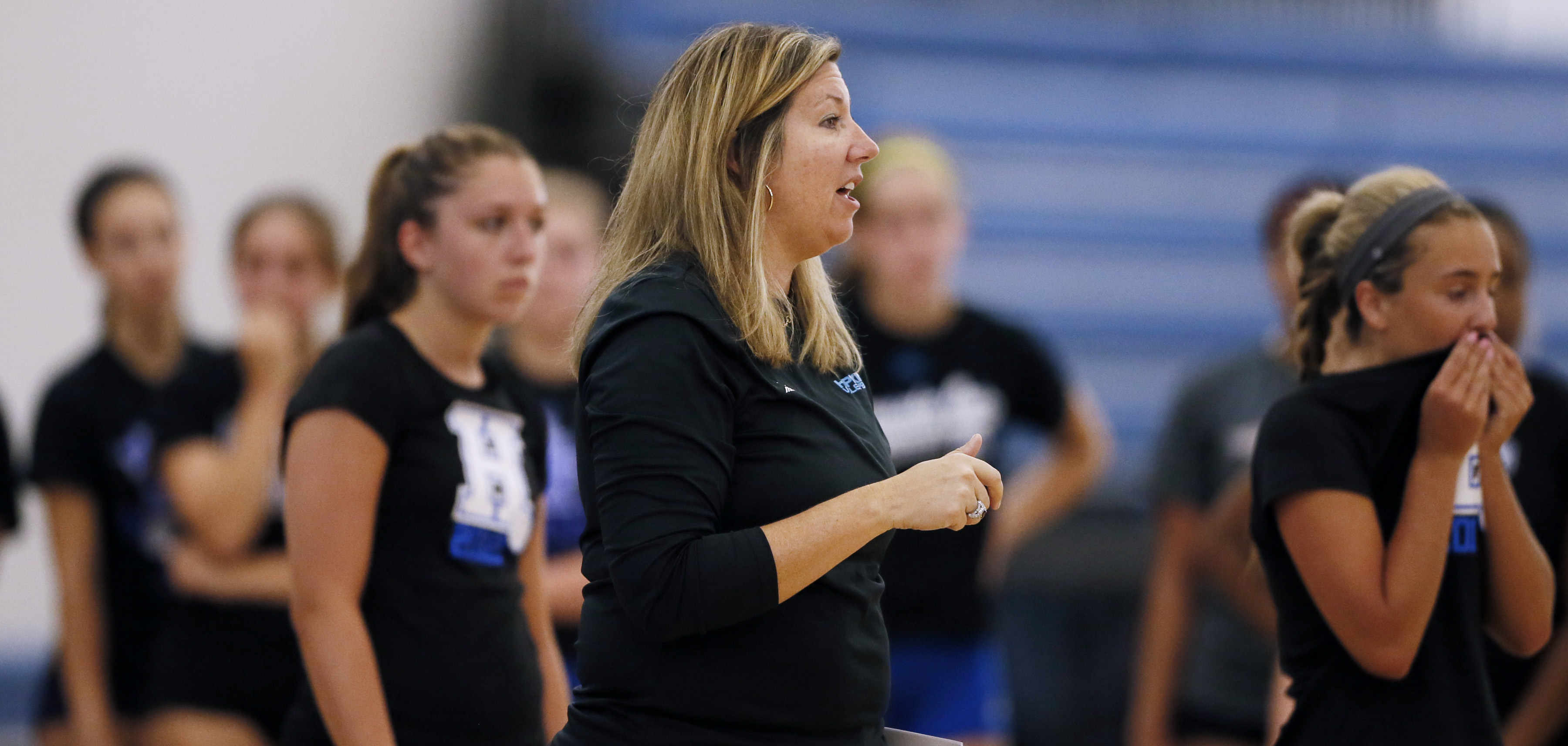 Hopkins volleyball coach Vicki Swenson gives instructions during the Royals' first day of practice last year. Star Tribune file photo by Jerry Holt